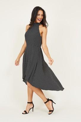 Yumi Black Polka Dot High Low Dress