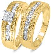 My Trio Rings 1 CT. T.W. Diamond Women's Bridal Wedding Ring Set 10K Yellow Gold
