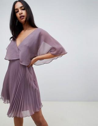 Asos Design DESIGN flutter sleeve mini dress with pleat skirt-Purple
