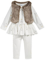 First Impressions Baby Girls' 3-Pc. Faux Fur Vest, Bunny-Print Tunic & Leggings Set, Only at Macy's