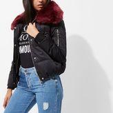 River Island Womens Black faux fur trim puffer jacket