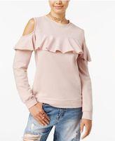 Polly & Esther Juniors' Cold-Shoulder Ruffle Sweatshirt