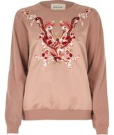 River Island Womens Pink satin embroidered sweatshirt