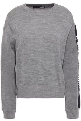 Love Moschino Jacquard-trimmed Melange Wool-blend Sweater