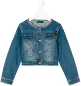 Miss Blumarine rhinestone embellished denim jacket - kids - Cotton/Spandex/Elastane - 4 yrs