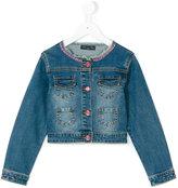 Miss Blumarine rhinestone embellished denim jacket - kids - Cotton/Spandex/Elastane - 4 yrs