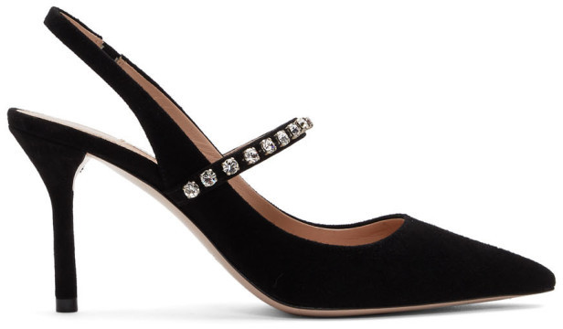 Miu Miu Black Suede Slingback Heels