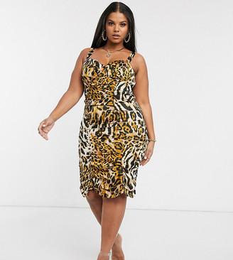 Pretty Darling Plus ruched leopard bodycon dress