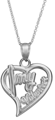 """Insignia Collection Sterling Silver """"I Love My Volunteer"""" Heart Pendant Necklace"""