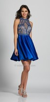 Dave and Johnny High Collar Illusion Keyhole Rhinestone Embellished Cocktail Dress
