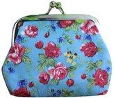 Mikey Store Women Retro Vintage Flower Small Wallet Hasp Purse Clutch Bag