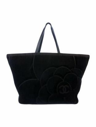 Chanel Terry Beach Tote Set Black