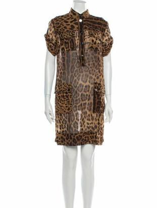 Dolce & Gabbana Animal Print Mini Dress Brown