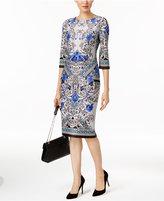 ECI Long Printed Sheath Dress