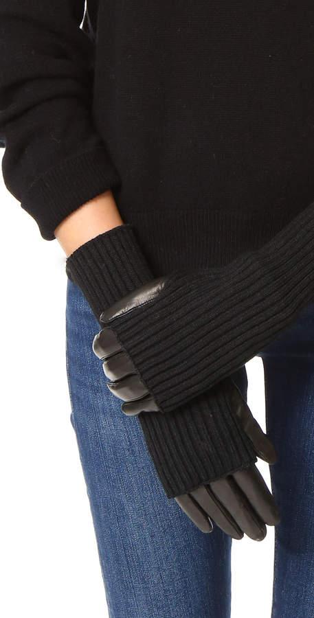 Carolina Amato Knit & Leather Texting Gloves
