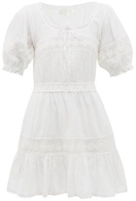 LoveShackFancy Britta Puff-sleeve Cotton Swiss Dot Mini Dress - White