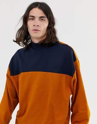 Asos Design DESIGN oversized sweatshirt with turtleneck and color blocking in brown