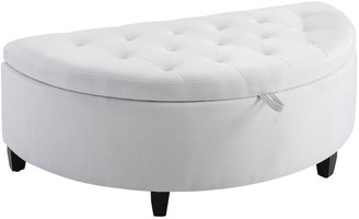 Overstock HOMCOM Half Circle Modern Luxurious Storage Polyester Fabric Ottoman Bed Bench with Legs Lift Lid Thick Sponge Pad Ideal Bench