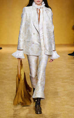 Zimmermann Charm Double-Breasted Crepe Blazer