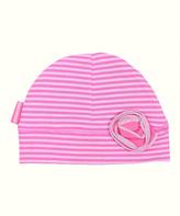Kushies Pink Stripe Rosette Beanie