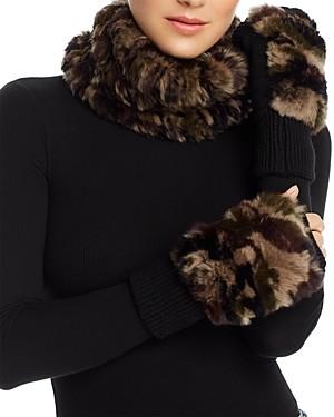 Jocelyn Knit Rabbit Fur Cowl & Rabbit-Fur Trim Fingerless Mittens