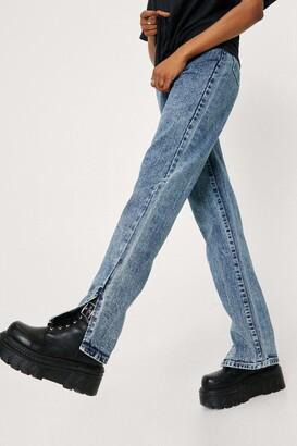Nasty Gal Womens Slit'S Now Or Never Jeans - Acid Wash Dark Blue