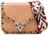 Valentino Guitar Rockstud Rolling Shoulder Bag in Soft Noisette, Black, & Red