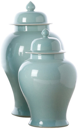 Twos Company Two's Company Aquamarine Covered Temple Jars, Set of 2