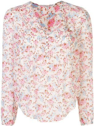 Veronica Beard Floral Print Pleated Detail Blouse