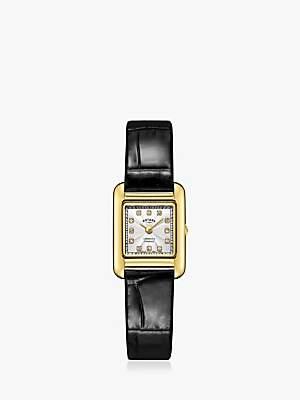 Rotary LS05288/70/D Women's Cambridge Diamond Leather Strap Watch, Black/Silver