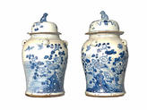 One Kings Lane Vintage Blue & White Porcelain Ginger Jars