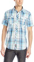 Southpole Men's Plaid Woven Short Sleeve Shirt with Fine Plaid Patterns