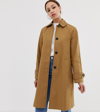 Asos Tall DESIGN Tall boyfriend trench coat-Stone