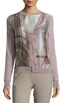 Ralph Lauren Long-Sleeve Button-Front Cardigan, Lilac/Multi