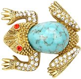 Ben-Amun Women's Love Bug Turquoise Stone and Swarovski Crystal Gold Frog Brooch