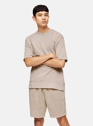 Topman Washed Stone Short Sleeve Sweatshirt