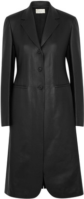 The Row Panois black leather coat