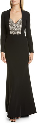Badgley Mischka Collection Long Sleeve Embellished Gown