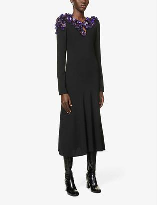 Dries Van Noten Floral sequin-embellished crepe midi dress