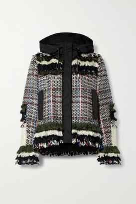 Sacai Fringed Canvas-trimmed Tweed Jacket - Gray