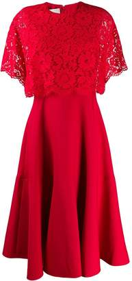 Valentino lace layer pleated dress