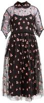Biyan Anita Floral-embroidered Tulle Dress - Womens - Black Red