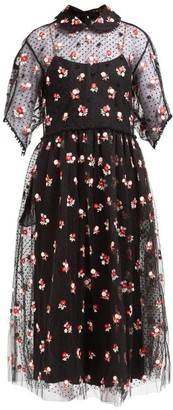 Biyan Anita Floral-embroidered Tulle Dress - Black Red