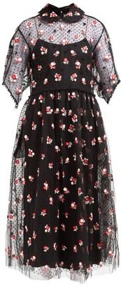 Biyan Anita Floral-embroidered Tulle Dress - Black Red