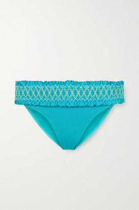 Heidi Klein Aruba Smocked Bikini Briefs - Turquoise