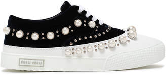 Miu Miu Embellished Velvet And Leather Sneakers