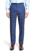 Santorelli Men's Flat Front Solid Wool Trousers