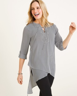 Chico's Chicos Striped Lace-Up Tunic
