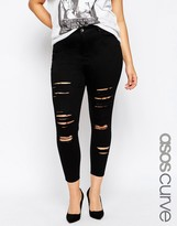 Asos Ridley Skinny Ankle Grazer Jeans in Clean Black with Extreme Rips