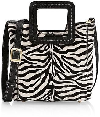 STAUD Mini Shirley Zebra-Stripe Leather Tote
